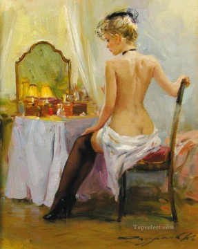Pretty Woman KR 001 Impressionist nude Oil Paintings